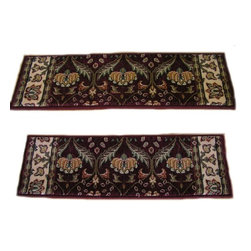 Momeni - Persian Garden Burgundy PG12.25 2.6 x 9 Inches - Premium Single Stair Treads - Persian Garden Burgundy PG12.25 2.6 x 9 Inches Rug Depot Premium single Treads - Buy the amount of treads you require.