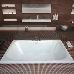 Venzi - Venzi Flora 40 x 60 Rectangular Air Jetted Bathtub - The Flora series is designed for bathers who enjoy the sauna pool feeling. The large 60-gallon capacity opening creates an even, rounded-corner bathing cradle. Classic bathtub design goes well with standard as well as modern, and contemporary.