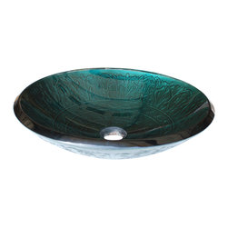 Eden Bath - Eden Bath GS03 Teal Glass Vessel Sink With Embossed Pattern - This glass vessel sink from Eden Bath is made of high quality tempered glass. Eden Bath specializes in unique glass vessel sinks that you won't find anywhere else. Many glass sinks feature hand painted finishes embedded in the glass which can not be compared to your run of the mill glass vessl sink. We recommend that you also purchase a mounting ring and drain with your glass sink in the same finish of your faucet.