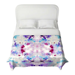 DiaNoche Designs - Duvet Cover - Purple Rorschach - Lightweight and super soft brushed twill Duvet Cover sizes Twin, Queen, King.  Cotton Poly blend.  Ties in each corner to secure insert. Blanket insert or comforter slides comfortably into Duvet cover with zipper closure to hold blanket inside.  Blanket not Included. Dye Sublimation printing adheres the ink to the material for long life and durability. Printed top, khaki colored bottom, Machine Washable, Product may vary slightly from image.