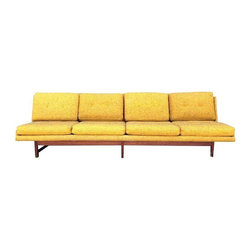 "Dux - Pre-owned Mid-Century Modern Armless Dux Sofa with Teak Legs - Mid-Century four seat sofa designed by Dux. Unmarked. Original upholstery in good condition with no holes or rips. The teak base is amazing and graphic. The sturdy, cushion foam is in great condition. Cushions are not attached. There is some normal wear around the corners of the sofa, specifically the front left and the back right (Please see 5th photo). Slight surface wear on the teak base.  Seat height measures 16"".    We're dreaming about this bright sofa in an airy, lofty space... high ceilings, floor to ceiling windows, concrete floors and shag rug. Amazing!"