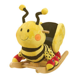 Rockabye - Rockabye Buzzy Bee Rocker - Buzzy bee for your little busy bee! your little one will love taking rides on their own magical bumble bee. They will also get to play four fun songs over and over again. Located on the back of the head your little rocker will find 4 colored shapes that activate original songs that teach ABC's, 123's, colors, shapes and more.