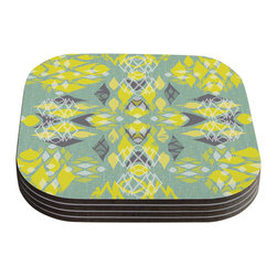 "Kess InHouse - Miranda Mol ""Joyful Teal"" Coasters (Set of 4) - Now you can drink in style with this KESS InHouse coaster set. This set of 4 coasters are made from a durable compressed wood material to endure daily use with a printed gloss seal that protects the artwork so you don't have to worry about your drink sweating and ruining the art. Give your guests something to ooo and ahhh over every time they pick up their drink. Perfect for gifts, weddings, showers, birthdays and just around the house, these KESS InHouse coasters will be the talk of any and all cocktail parties you throw."