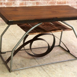 Rustic Abstract Wood and Metal Table - http://www.ecustomfinishes.com