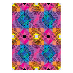Kaleidoscope Wall Mural - The fleeting mesmerizing beauty of a kaleidoscope is captured here in this colorful mural. Pinks purples yellow and blue spin together into a unique pattern.
