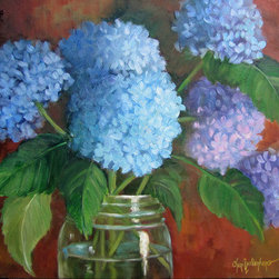 """Blue Hydrangea Bouquet In Fruit Jar Still Life Painting"" (Original) By Cheri Wo - I Love Hydrangea And Try To Paint As Many Of These Gorgeous Flowers Every Year.  This Bouquet Looks So Fresh And Natural In The Old Jar, And Would Grace Walls Anywhere In A Home."