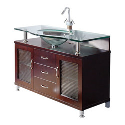 """Mahogany bathroom vanities and glass sink Cologne collection 48"""" - • 48"""" Vanity with Ceramic Basin."""