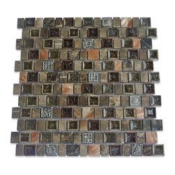 GlassTileStore - Sample-Lotus Rolling Hills Glass and Stone Tile Sample - Sample-Lotus Rolling Hills Glass and Stone Tile Sample   Samples are intended for color comparison purposes, not installation purposes.    -Glass Tiles -