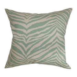 """The Pillow Collection - Cecania Zebra Print Pillow Blue Linen 20"""" x 20"""" - This accent pillow is a definite stand out wherever you place it. The decor pillow comes with an exciting zebra print in shades of muted blue and linen. You can toss this square pillow in your sofa, bed or anywhere inside your home. This 20"""" pillow will spruce up your decor style in an instant. Mix and match this throw pillow with solids and other patterns for an unconventional look. Made of 100% high-quality cotton fabric. Hidden zipper closure for easy cover removal.  Knife edge finish on all four sides.  Reversible pillow with the same fabric on the back side.  Spot cleaning suggested."""