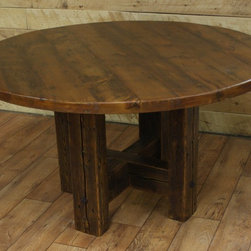 """Reclaimed Wood Dining Room Tables - 54"""" dia reclaimed white pine table"""