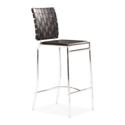 ZUO MODERN - Criss Cross Counter Chair Black (set of 2) - With three height choices, the Criss Cross works in any dcor setting, modern or transitional. It has leatherette back straps and a flat seat with a chrome steel tube frame.