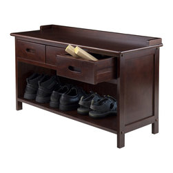 """Winsome Wood - Winsome Wood Adriana Adriana 3-Drawer Bench with Storage X-83049 - Add seating and storage in one piece with the Adriana Storage Bench.  This bench can be added throughout the house, from the mudroom to the entryway, the playroom to the bedroom.  This bench features easy to access storage beneath the bench seat and three drawers.  Use it to storage anything and everything.   The rich finish s sure to warm up any space.  Constructed from solid and composite wood in walnut finish, giving it a long lasting quality.  Each drawer has inside dimension of 9.45""""W x 11.42""""D x 3.85""""H.  Overall assembled bench size is 37.90""""W x 14.17""""D x 22'H.  Assembly Required."""