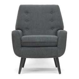 Baxton Studio - Baxton Studio Levison Gray Linen Modern Accent Chair - This simple,classic living room chair is made with a sturdy engineered wood frame,firm fire retardant foam cushioning,and black birch wood legs with non-marking feet. Gray linen upholstery is a trendy neutral to complement any interior.