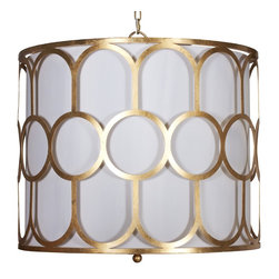 Worlds Away - Worlds Away Art Deco Style Gold Leaf Pendant COLETTE G - Art deco style gold leaf pendant with white linen inner shade and diffuser. Uses three 40W candelabra base bulbs.
