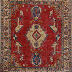 """ALRUG - Handmade Red/Rust Oriental Kazak Rug 6' 4"""" x 7' 11"""" (ft) - This Afghan Kazak design rug is hand-knotted with Wool on Cotton."""
