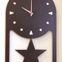 IronCraft - Star wall Clock - -Handmade by skilled American craftspeople  -Rust finish  -Slight variations in color and dimensions will occur due to the handmade nature of the product  -During the finishing process each piece of steel develops its own unique pattern of light and dark tones and no two pieces are the same  -Lacquer coated to preserve the beautiful patina  -Clock runs on 1 AA battery, not included    -Made in USA IronCraft - 9855RU31