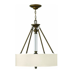 Hinkley - Hinkley-4794EZ-Foyer Sussex - English Bronze Finish with Ivory Fabric Shade  Lamp Quantity: 3  Lamp Type: A19 Medium Base  Wattage: 60  Voltage: 120  UL Certified  Wire Length: 144  Chain Length: 120