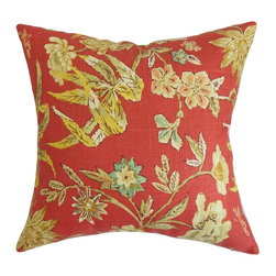 The Pillow Collection - Itzel Floral Pillow Berry - Bring an exciting and exotic flair to your interiors with this bold floral pillow. The striking floral pattern in this square pillow provides a picturesque detail to your living room, bedroom or guestroom. Style this accent pillow with solids and other patterns from our pillow collection. Made from a combination of 55% linen and 45% rayon material. Hidden zipper closure for easy cover removal.  Knife edge finish on all four sides.  Reversible pillow with the same fabric on the back side.  Spot cleaning suggested.