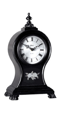 HERMLE - Oak Ridge Decorative Mantel Clock - The classic lines of the balloon shape are captured in this black finished clock.