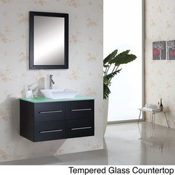 VIRTU - Virtu USA Marsala 36-inch Single Sink Bathroom Vanity Set - The Marsala 36-inch single sink vanity set is equipped with two soft closing drawers,white marble or tempered glass countertop and one set of pre-drilled single hole faucet mount. This unique set is designed as a floating cabinet.