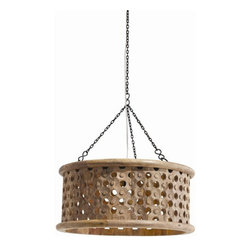 Arteriors Home - Arteriors Home Jarrod Small Carved Wood/Mirror Pendant - Arteriors Home 86738 - Arteriors Home 86738 - The Jarrod Carved Wood/Mirror Drum Pendant from Arteriors offers a natural wax finish and an interior mirrored top. The mirror allows the light to disperse downward and out through the holes across the surface of the drum shade. Intricate carved details surround the holes. A unique pendant light fixture made from Mango Wood, a sustainable material that ranges in various brown and blonde hues. Striking illumination for any interior seeking a natural, rustic design.