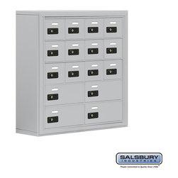 Salsbury Industries - Cell Phone Storage Locker - 5 Door High Unit - 12 A Doors and 4 B Doors - Cell Phone Storage Locker - 5 Door High Unit (8 Inch Deep Compartments) - 12 A Doors and 4 B Doors - Aluminum - Surface Mounted - Resettable Combination Locks