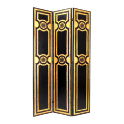 Wayborn - Wayborn Classic Scroll Room Divider in Black/Gold - Wayborn - Room Dividers - 1378 - Wayborn coromandel screen start with a cedar plywood frame covered in a cheesecloth material. Then layer after layer of plaster is applied; each layer must dry before another layer can be applied. After all the plaster has been applied several coats of lacquer is put over the entire surface. The design is drawn onto life-sized paper and carefully traced on to the panels. The craftsman then hand carves the design into the screen through the lacquer into the plaster. Once the screen is done it is painted with water based paint or silver/gold leaf is applied and sealed with a clear lacquer coat.