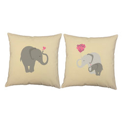 Store51 LLC - Elephant Family Throw Pillow Covers 14x14 Natural Shams - FEATURES: