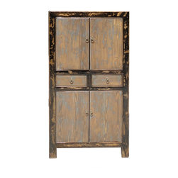 Golden Lotus - Simple Oriental Rustic Brown Blue Storage Cabinet - This is a storage cabinet with top and bottom shelves , two drawers in the middle. It has interesting color combination for different design idea.