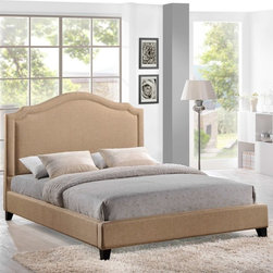 Modway - Charlotte Upholstered Platform Bed - Queen - MOD-5045-BEI-SET - Shop for Beds from Hayneedle.com! Bold yet graceful the Charlotte Upholstered Platform Bed - Queen features a sweeping headboard with notched details and nail head trim. It is padded and upholstered in select fabric color options. the frame is made of pine and features tapered black feet. The platform bed does not require a box spring simply your mattress. About ModwayModway designs and manufactures modern classic furniture pieces for the contemporary home. The quality pieces are fresh and elegant with a distinctively updated appeal. Simple clean lines and a vibrant selection of colors and finishes make these pieces perfect for the home or office. A wide selection of products include pieces for the living room dining room bar office and outdoors. High-quality and innovative designs make Modway the premier company for luxurious modern style.