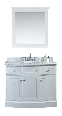 """Ariel - Montauk 42"""" Single-Sink Bathroom Vanity Set - Drawing design cues from traditional Hampton architecture,  this vanity from our Montauk collection embodies a timeless and classic shape, with softly-rounded edges and an abundance of drawers and doors for maximum storage.  The white carrera marble countertop features a premium OGEE edge, which further compliments the contours on this timeless design."""