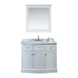 "Ariel - Montauk 42"" Single-Sink Bathroom Vanity Set - Drawing design cues from traditional Hampton architecture,  this vanity from our Montauk collection embodies a timeless and classic shape, with softly-rounded edges and an abundance of drawers and doors for maximum storage.  The white carrera marble countertop features a premium OGEE edge, which further compliments the contours on this timeless design."