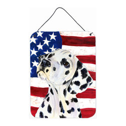 Caroline's Treasures - USA American Flag With Dalmatian Aluminium Metal Wall Or Door Print - Great for inside or outside these Aluminum prints will add a special touch to your kitchen, bath, front door, outdoor patio or any special place.  12 inches by 16 inches and full of color.  This item will take direct sun for a while before it starts to fade.  Rust and Fade resistant.  Aluminum Print with Hanging Rope.  Rounded Corners.