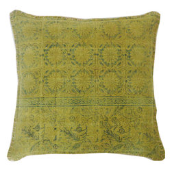 JITI - Green Art Pillow - This gorgeous green pillow almost has an antique look, as if it were once made of copper and now has a fine layer of patina. The fact that it's also soft, filled with feathers and down, makes it a magical metal indeed. Layer one (or two or three!) onto your couch, your bed, or anywhere you want to create a splendid space for rest and reflection.