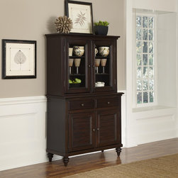 None - Bermuda Buffet and Hutch - Inspired by the fusion of British colonial and old world tropical design,the Bermuda Buffet and Hutch by Home Styles highlights mahogany solids. Further inspiration can be found in the shutter style designed doors and the turned feet.