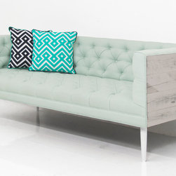 """Cody Loveseat - The new Cody loveseat features a white washed Recycled Wood veneered frame, Klein Pool Textured linen and matte white eco painted 10"""" cone legs."""