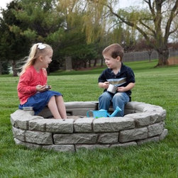 RockLock Faux Stone Round Sandbox Kit - Give your sandbox a more rustic natural touch with the Rock Lock Faux Stone Round Sandbox Kit. Constructed from high density polyethylene for durability this sandbox will not crack chip or fade in any weather and includes a 10 year guaranteed UV stabilized HDPE. Add these curved panels to any straight panels to give the sandbox a more natural look. You'll love the look of the rounded edges while your kids will love playing in their new sandbox.