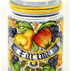 Artistica - Hand Made in Italy - Frutta: Round Canister Farina - Everything about this Frutta Flour canister is laboriously crafted by hand over a period of weeks.