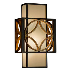 Feiss - Remy Heritage Bronze/Parissiene Gold ADA Sconce - A classic mid-century modern motif forms the basis of this design. The outer decorative frame floats over the organza shades creating depth and visual interest. Heritage Bronze and Parisienne Gold combine to create a beautiful finish.   -Bronze Organza Fabric  -Back Plate Dimensions: 13.5 x 4.75 Rectangular Feiss - WB1446HTBZ/PGD