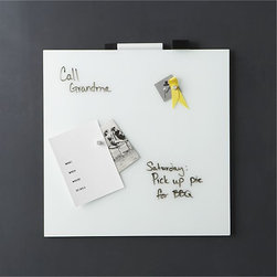 """White Glass Magnetic 17.75"""" Wipe Board - Have a dedicated spot for notes in your office. I like this glass surface that is magnetic, but also doubles as a place to write with your dry-erase markers."""