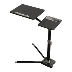 Living Healthy Products - Laptop Stand - computer desk; V shape stable metal bottom; mouse pad board - This unique laptop table allows user to rotate the board 360 degress and tilts 20 degrees. Unique feature of this laptop table is the separate board for the mouse to give more room for the user. This laptop cart is your perfect solution for easy mobility, style, and work space. With features that include a work surface, adjustable height mechanism, and a handy side panel for extra work space, this cart is sure to fit the needs of any home office. This laptop cart comes with large, double-wheel, non-marking casters with a locking mechanism, so you don't have to worry about ruining your floors. Constructed with a Black steel V shaped base with a scratch-resistant Black laminate top. Ideal for use with a laptop or a keyboard the POP can also be used as a supplemental table for any work environment.