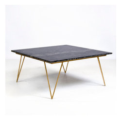 Worlds Away Neal Gold Leafed Coffee Table with Black Marble Top -