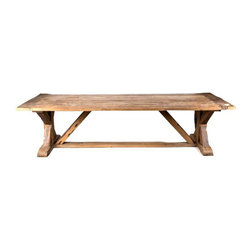 Reclaimed French Trestle Table - Dimensions 118.0ʺW × 40.0ʺD × 30.0ʺH