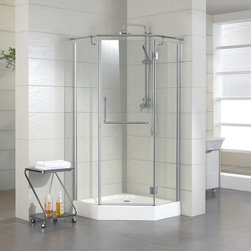 "36"" x 36"" Alver Neo Angle Shower Enclosure - Complete a modern-themed bathroom with the stylish 36"" x 36"" Alver Neo Angle Shower Enclosure, designed for use in a corner space."
