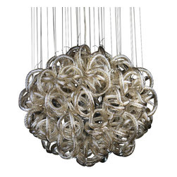 Viz Glass, Inc. - Infinity Chandelier, Champagne - Add instant elegance to your home with the Infinity Chandelier. This unique piece is handblown from Italian Glass and features a round tangle of textured champagne-colored glass strands hung from a chrome hardware base. Variations may occur in individual pieces. Maximum height is 74 inches. Includes nine 40 watt candelabra bulbs. UL listed. Hardwire; professional installation recommended.