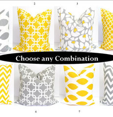 Gray Yellow Pillow SETS18x18 inch Decorator by ElemenOPillows