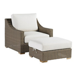 Ballard Designs - Sutton Lounge Chair & Ottoman - Off-white cushions included. Tapered foot made of Teak. Coordinates with Sutton Dining Collection & Sutton Lounge Collection. Fully assembled. Replacement cushions available. A relaxed blend of warm textures and sophisticated style, our Sutton Lounge Chair and Ottoman take weekend comfort very seriously. The strong, rustproof aluminum frames are wrapped in all-weather rattan that resists fading, mildew and moisture. Each strand has multiple shades of warm tan, gray and mocha to create the warm Weathered Driftwood finish. Tapered foot made of teak.Sutton Lounge Chair & Ottoman features: . . . . .
