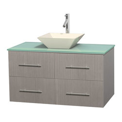 Wyndham Collection - Centra Bathroom Vanity in Grey Oak,GN Glass Top,Pyra Bone Sink,No Mir - Simplicity and elegance combine in the perfect lines of the Centra vanity by the Wyndham Collection. If cutting-edge contemporary design is your style then the Centra vanity is for you - modern, chic and built to last a lifetime. Available with green glass, pure white man-made stone, ivory marble or white carrera marble counters, with stunning vessel or undermount sink(s) and matching mirror(s). Featuring soft close door hinges, drawer glides, and meticulously finished with brushed chrome hardware. The attention to detail on this beautiful vanity is second to none.