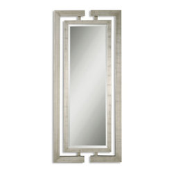 Uttermost - Jamal Scratched Silver Leaf Rectangular Mirror - This stately mirror features dual wooden frames attached at the top and bottom with a scratched silver leaf finish.   Frames have open detail for wall color to show thru.  Mirror has a generous 1 1/4 inch bevel.