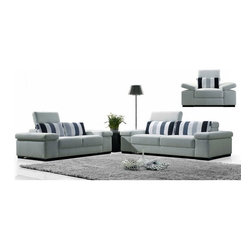 VIG White Fabric Living room set with Adjustable Headrests 1013 - Multi-colored stripe back cushions provide added interest.